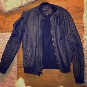 John Varvatos blue bomber jacket